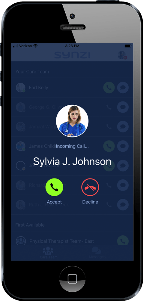 Synzi app showing Doctor calling